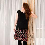 Одежда ручной работы. Ярмарка Мастеров - ручная работа Платье черное с вышивкой 2. Handmade.