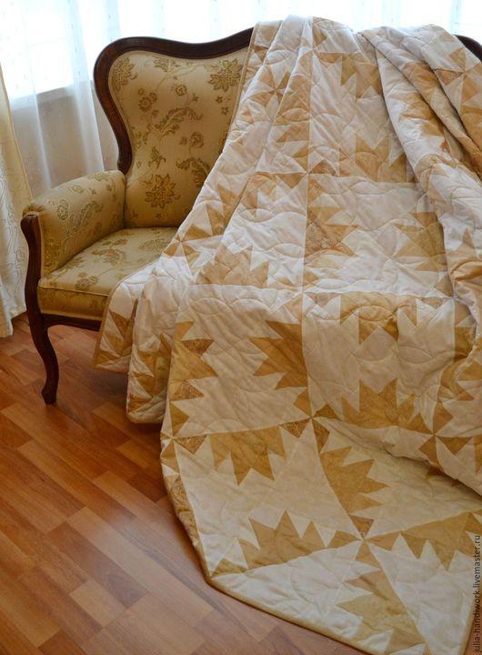 """Текстиль, ковры ручной работы. Ярмарка Мастеров - ручная работа. Купить """"Карамель и ваниль"""" Лоскутное покрывало. Handmade. Бежевый"""