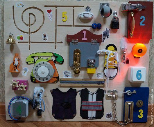 Развивающие игрушки ручной работы. Ярмарка Мастеров - ручная работа. Купить РАЗВИВАЮЩАЯ ДОСКА. Handmade. Разноцветный, развитие моторики, распродажа