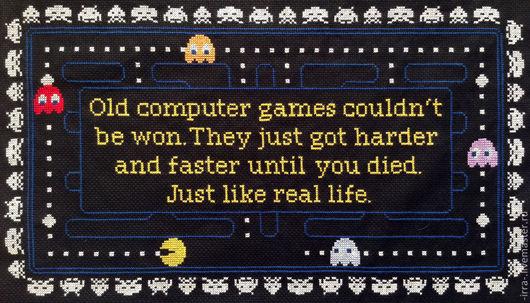 Символизм ручной работы. Ярмарка Мастеров - ручная работа. Купить Pac-Man. Handmade. Черный, pac-man, Вышитая картина