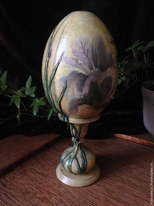"""Подарки на Пасху ручной работы. Ярмарка Мастеров - ручная работа. Купить """"Ирисы"""" Интерьерное Пасхальное Яйцо.. Handmade. Пасха, ирисы"""