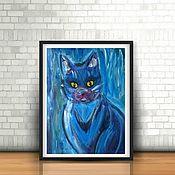 Картины и панно ручной работы. Ярмарка Мастеров - ручная работа IN BLUE - синяя картина с котом. Handmade.