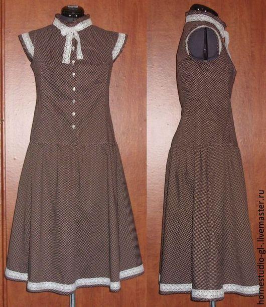 Платья ручной работы. Ярмарка Мастеров - ручная работа. Купить Платье шоколадного цвета в мелкий горошек. Handmade. Платье, хлопок