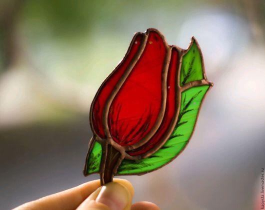 Купить брошь ручной работы, Handmade, Стекло, витражная брошь, роза, бутон, тюльпан