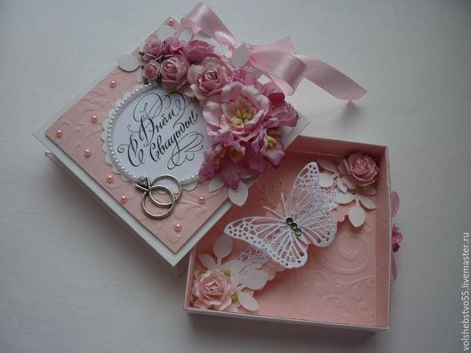"""Конверты для денег ручной работы. Ярмарка Мастеров - ручная работа. Купить Свадебная  коробочка-конверт для денег """"Свадьба в розовых тонах"""". Handmade."""