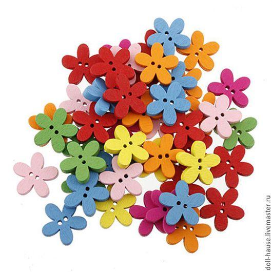 Шитье ручной работы. Ярмарка Мастеров - ручная работа. Купить Пуговицы деревянные 1,5 см, в форме цветка.. Handmade.
