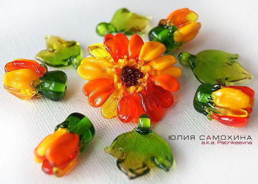 All for Jewelry Making handmade. Livemaster - handmade. Buy Set of beads-lampwork 'Gerbera'.Yulia samokhina