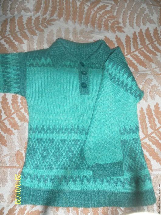 Одежда для мальчиков, ручной работы. Ярмарка Мастеров - ручная работа. Купить Джемпер поло. Handmade. Тёмно-зелёный, шерсть ангора