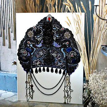 Картины и панно ручной работы. Ярмарка Мастеров - ручная работа Картина из полудрагоценных камней Русский кокошник. Handmade.