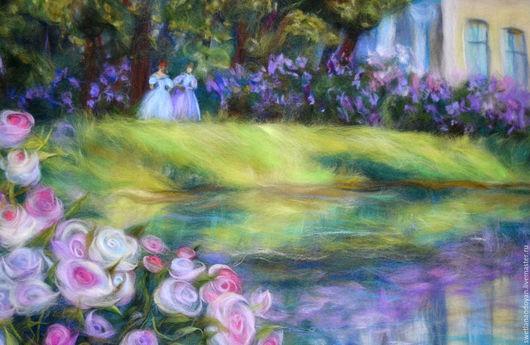 Пейзаж ручной работы. Ярмарка Мастеров - ручная работа. Купить Картина из шерсти В имении. Handmade. Разноцветный, Сухое валяние