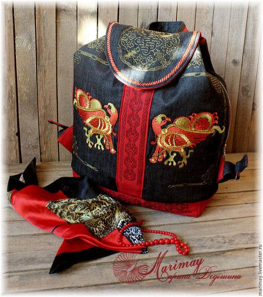 """Рюкзаки ручной работы. Ярмарка Мастеров - ручная работа. Купить Рюкзак  """"Птицы былинные"""" (дизайны отдельно). Handmade. Дизайн, золотой"""