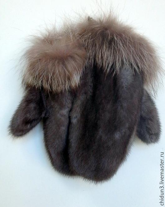 Варежки, митенки, перчатки ручной работы. Ярмарка Мастеров - ручная работа. Купить Варежки из натурального меха. Handmade. Серый, мех