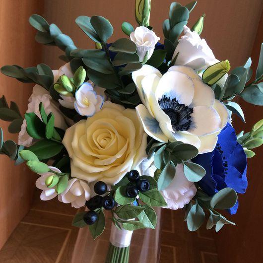 Свадебные цветы ручной работы. Ярмарка Мастеров - ручная работа. Купить Букет невесты из синих анемонов. Handmade. Букет невесты