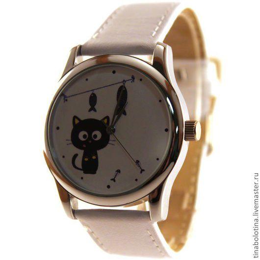 Часы ручной работы. Ярмарка Мастеров - ручная работа. Купить Дизайнерские наручные часы Кошкин Улов. Handmade. Часы с кошкой