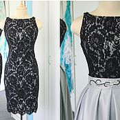 Одежда ручной работы. Ярмарка Мастеров - ручная работа Элегантное вечернее платье из черного кружева со съемной юбкой. Handmade.