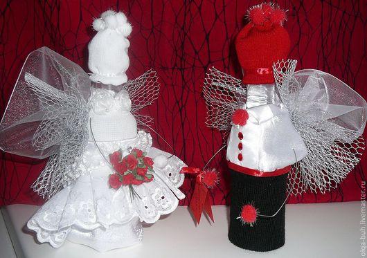 Свадебные аксессуары ручной работы. Ярмарка Мастеров - ручная работа. Купить свадебные бутылочки 2. Handmade. Ярко-красный