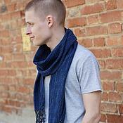 Аксессуары ручной работы. Ярмарка Мастеров - ручная работа Мужской шарф домотканый Blue/Black. Handmade.