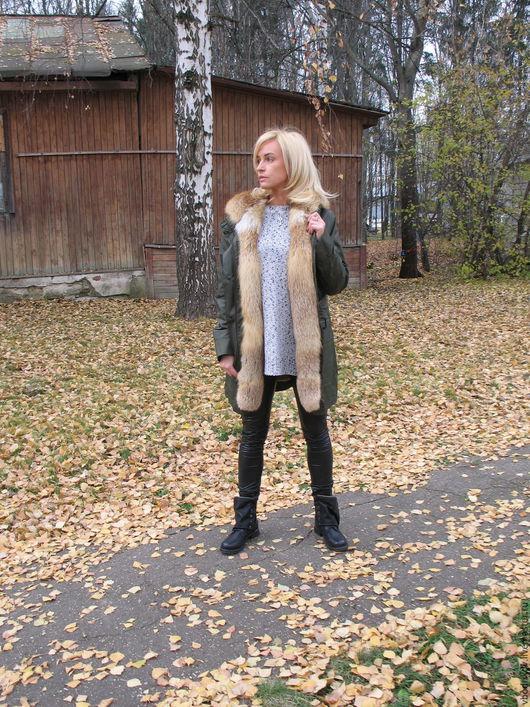 Верхняя одежда ручной работы. Ярмарка Мастеров - ручная работа. Купить Парка с мехом лисы. Handmade. Хаки, куртка на кролике