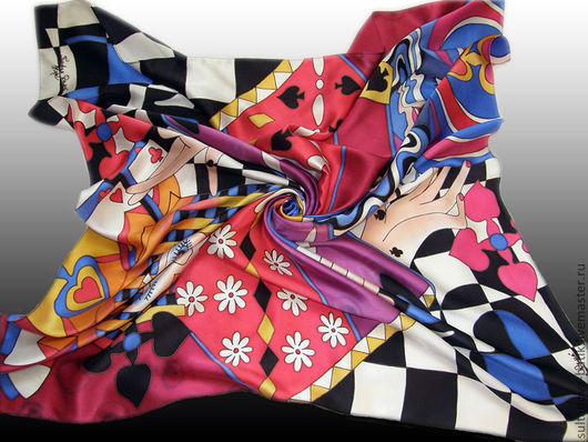"""Шали, палантины ручной работы. Ярмарка Мастеров - ручная работа. Купить платок батик """"Пиковая Дама"""". Handmade. Абстракция, карта"""