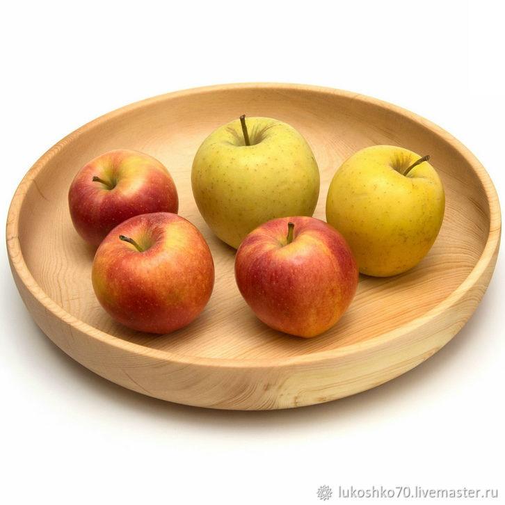 Тарелка деревянная большая D29 H5. Деревянная посуда для кухни, Тарелки, Томск,  Фото №1