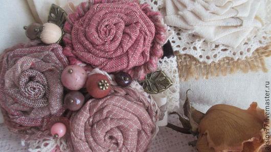 Броши ручной работы. Ярмарка Мастеров - ручная работа. Купить Пряный розовый. Handmade. Комбинированный, весеннее украшение, металлическая фурнитура