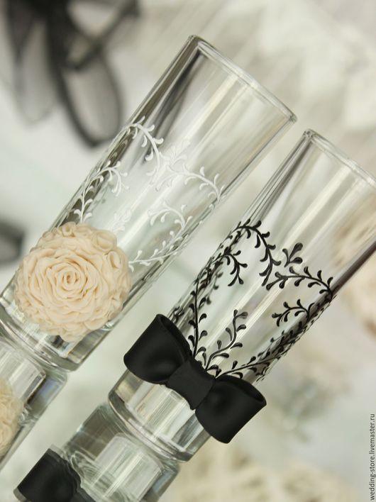 Свадебные аксессуары ручной работы. Ярмарка Мастеров - ручная работа. Купить Свадебные рюмки жених и невеста, бокалы на свадьбу, бежевый цвет. Handmade.