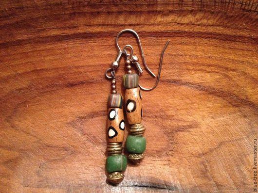 """Серьги ручной работы. Ярмарка Мастеров - ручная работа. Купить Серьги """"Ещё жирафы"""". Handmade. Разноцветный, индонезийское стекло, кость"""