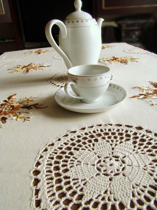 Текстиль, ковры ручной работы. Ярмарка Мастеров - ручная работа. Купить Скатерть, с кружевными мотивами, вышитая лентами. Handmade. Кремовый