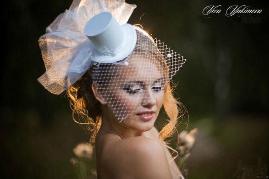 """Шляпы ручной работы. Ярмарка Мастеров - ручная работа. Купить Шляпка-цилиндр """"Нежность"""". Handmade. Свадьба, шляпка с вуалью, шёлк"""