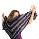 Шали, палантины ручной работы. Ярмарка Мастеров - ручная работа. Купить Треугольная шаль фиолетово-серо-зеленый платок БОХО. Handmade.
