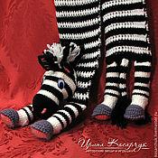 Работы для детей, ручной работы. Ярмарка Мастеров - ручная работа Вязаный детский шарф-игрушка «Зебра Полосик». Handmade.