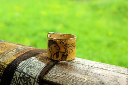 """Браслеты ручной работы. Ярмарка Мастеров - ручная работа. Купить Браслет кожаный с двумя пряжками """"BartCraft"""". Handmade. Бежевый, кожа"""