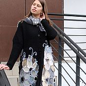 Одежда handmade. Livemaster - original item Winter in Eden. Cardigan knitted made of wool black with large flowers. Handmade.