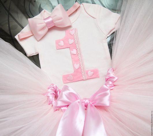Одежда для девочек, ручной работы. Ярмарка Мастеров - ручная работа. Купить Комплекты на годовасие. Handmade. Бледно-розовый, годик