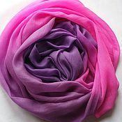 Аксессуары ручной работы. Ярмарка Мастеров - ручная работа Шарф из кашемира розово-фиолетовый (вуаль) батик. Handmade.