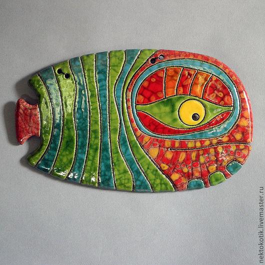 Животные ручной работы. Ярмарка Мастеров - ручная работа. Купить Керамическое панно «Рыба». Handmade. Рыба, красный