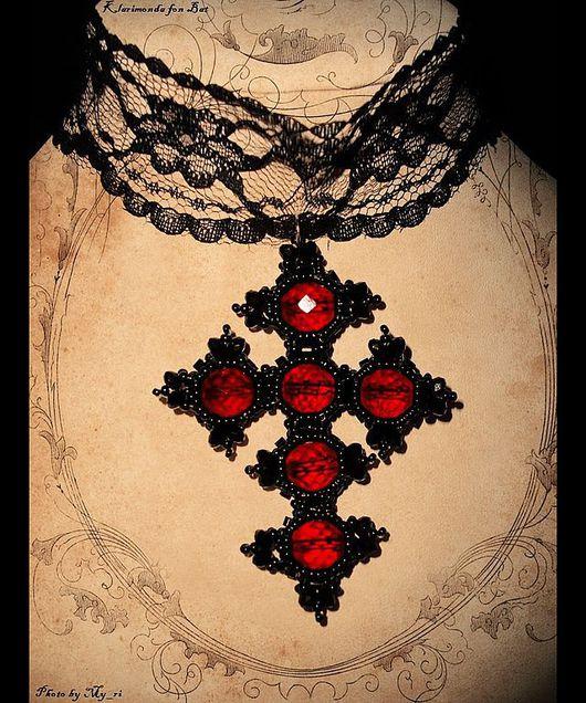 """Готика ручной работы. Ярмарка Мастеров - ручная работа. Купить Крест """"Battle with the Red Queen"""". Handmade."""