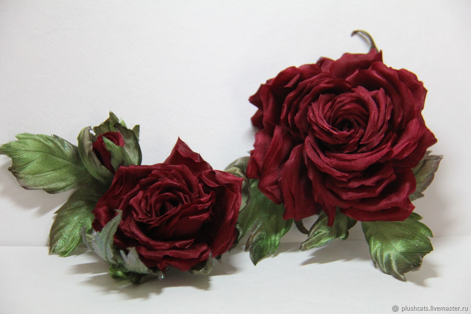 Rose brooch made of silk, Brooches, Moscow,  Фото №1