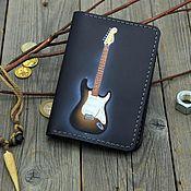 Сумки и аксессуары handmade. Livemaster - original item Leather passport cover with a guitar pattern. Handmade.