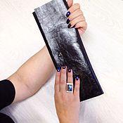 Сумки и аксессуары ручной работы. Ярмарка Мастеров - ручная работа Длинный черный кожаный клатч. Handmade.