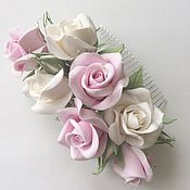 Свадебный салон handmade. Livemaster - original item Comb for bride with white and pink roses. Handmade.