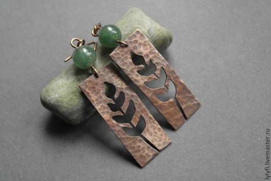 """Серьги ручной работы. Ярмарка Мастеров - ручная работа. Купить серьги """"Орешник"""". Handmade. Зеленый, веточка, медные серьги, яшма"""
