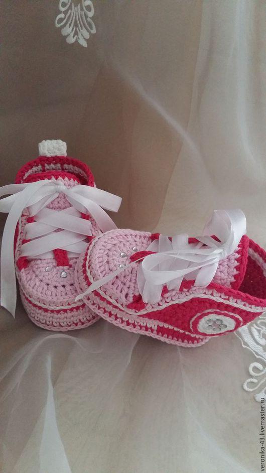 Детская обувь ручной работы. Ярмарка Мастеров - ручная работа. Купить Пинетки - кеды. Handmade. Розовый, пинетки в подарок