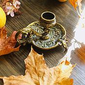 Винтаж handmade. Livemaster - original item Antique bronze candle holder with handle for one candle France. Handmade.