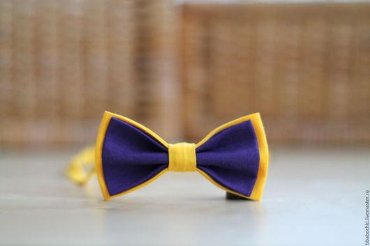 Галстуки, бабочки ручной работы. Ярмарка Мастеров - ручная работа. Купить Бабочка желто-фиолетовая детская/взрослая. Handmade. Фиолетовый