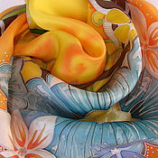 Аксессуары ручной работы. Ярмарка Мастеров - ручная работа Батик платок Оранжевое настроение. Handmade.