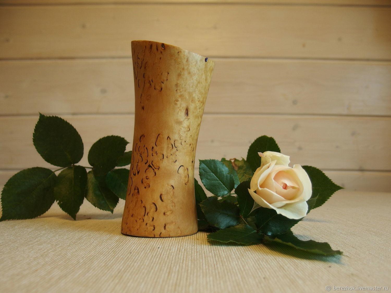 Ваза из карельской березы для икебаны малая