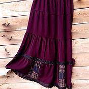Одежда ручной работы. Ярмарка Мастеров - ручная работа Темно-бордовая ярусная юбка на осень.. Handmade.