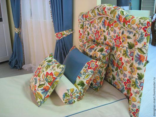 Текстиль, ковры ручной работы. Ярмарка Мастеров - ручная работа. Купить Комплект штор с цветочным рисунком. Handmade. Покрывало, хлопок