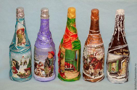Подарочное оформление бутылок ручной работы. Ярмарка Мастеров - ручная работа. Купить Новогодняя бутылка шампанского. Handmade. Бутылка